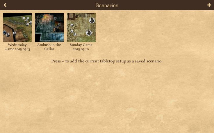 The upcoming Scenarios screen where you can save and load encounters.