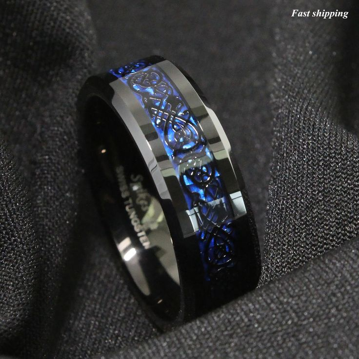 86mm Tungsten Carbide Ring Black Celtic Dragon Blue