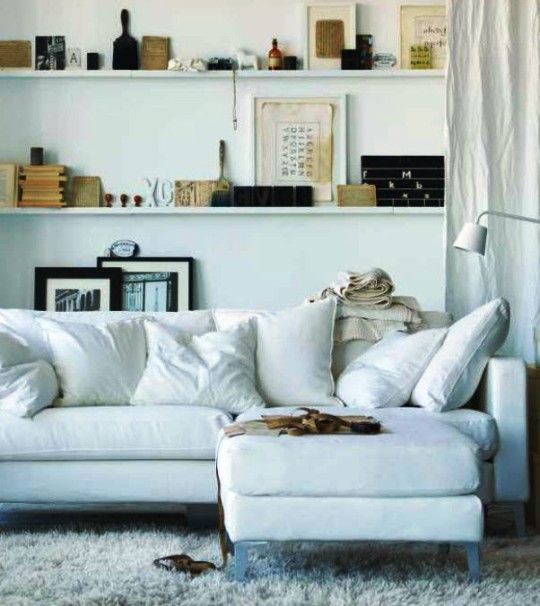 architectural picture rail via @apartment therapy (ikea 2013 catalog)Ideas, Living Rooms, Floating Shelves, Negative Spaces, Open Plans Living, Narrow Shelves, Wall Shelves, Display Shelves, Design