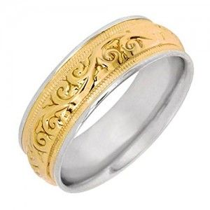 Gold Floral Paisley Womens Comfort Fit Wedding Band To View Further For This Item Visit The Image Link