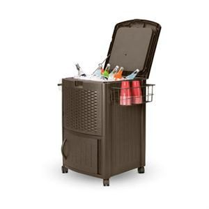 "Mfr #: DCCW3000S, Height: 34"", Keep beverages nice and cold during long summer backyard barbecues, Holds seventy two 12 ounce cans or six 2 liter bottles, Easy snap together assembly and stylish design, Lower cabinet and extra counter space for storageHeight: 34"" Width: 22"" Length: 25-1/2"" Capacity: 77 Qt Color: Java."