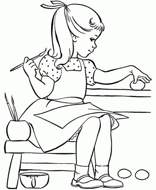 Little Girl Painting Easter Egg Coloring Pages