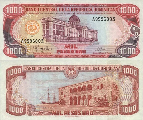 REPUBLICA DOMINICANA 1.000 PESOS 1997. Currency in Dominican Republic - setting for Caribbean Paradise.