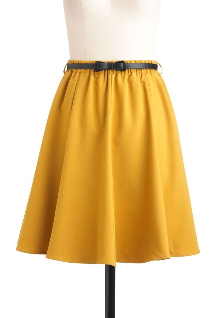 Ochre the Moon Skirt. The very first time you felt the silky fabric of this sweeping A-line skirt, with its bold yellow ochre pigment and faux leather belt that fastens into a bow, needless to say that it sent you soaring! #yellow #modcloth