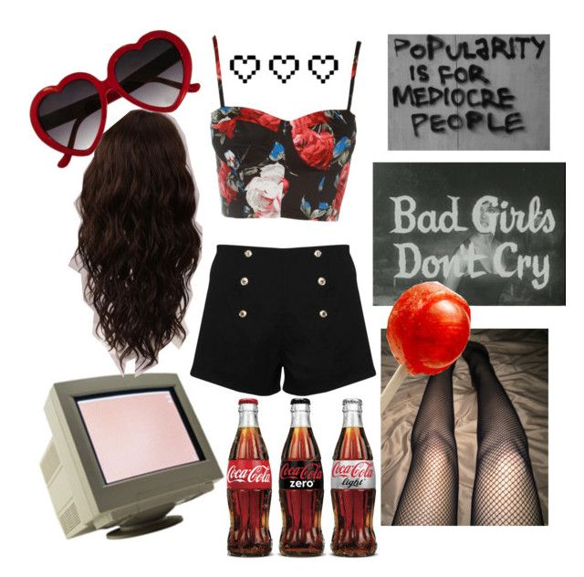 """""""bad gurl (summer edition)"""" by angel-x3 ❤ liked on Polyvore featuring Paprika, WigYouUp, Retrò, Summer, grunge, alternative and 90"""