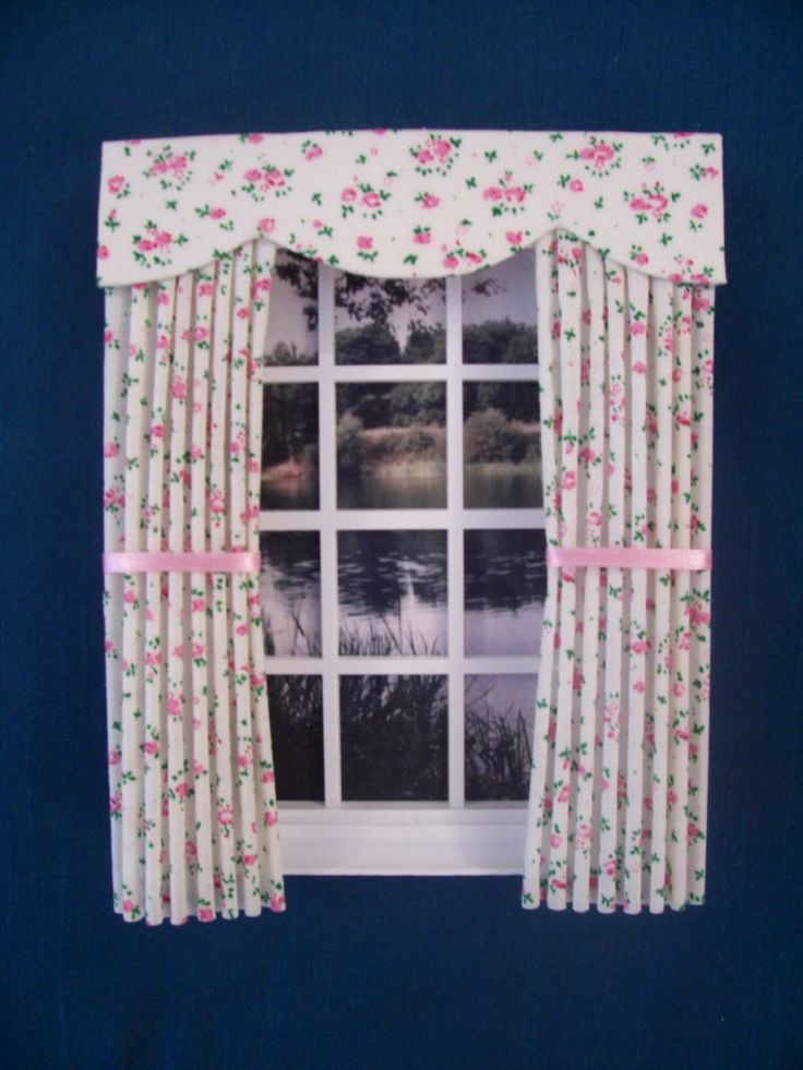 Miniature Doll House Curtains Drapes Tiny Flowers On Cream 12cm New | EBay