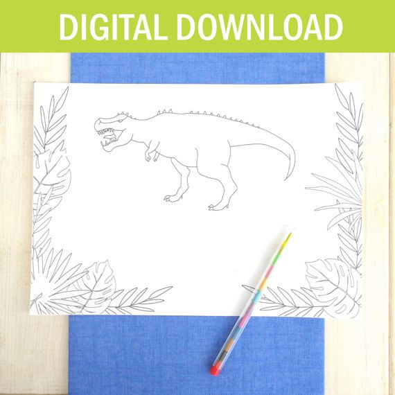Dinosaur Colouring In Place Mat - Personalised Placemat - DIGITAL DOWNLOAD - Printable - Wedding Placemats - Kids Party - Dinosaur Party - Etsy - LetsDreambyChiChiMoi