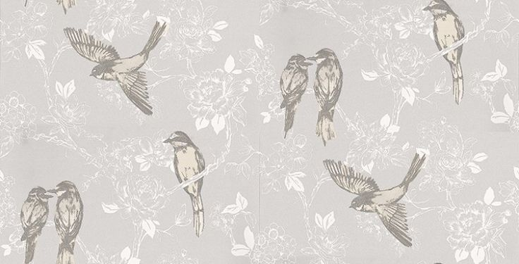Songbird Mist (1616/655) - Prestigious Wallpapers - An elegant and bold wallpaper design featuring stylised birds on a trailing floral background. Shown here in soft grey and white with multi coloured birds.Other colourways are available. Please request a sample for a true colour match. Paste-the-wall product.
