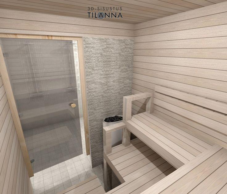 3D- visualisointi ja sisustussuunnittelu uudiskohteeseen/ Modernin rivitalon sauna, vaaleaksi käsitelty paneeli, kivikuosinen laatta kiukaan takana, harvian kiuas/ Keski-Suomen Rakennuskeskus, rivitalo Hollitaipaleentie 10, ennakkomarkkinointi/ 3D-sisustus Tilanna