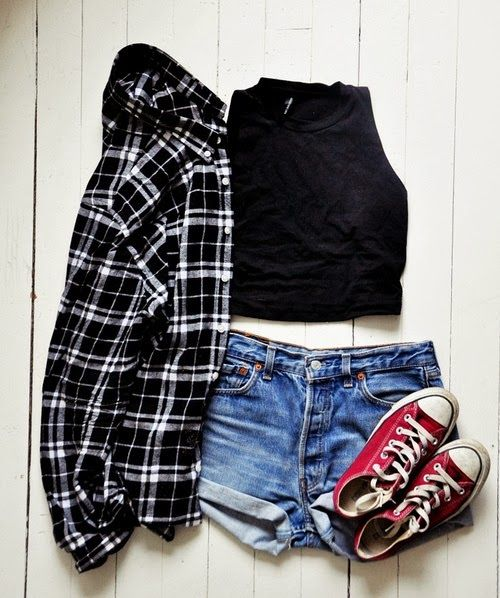 High waisted shorts, a crop top, a flannel, and red low top Converse | My Style