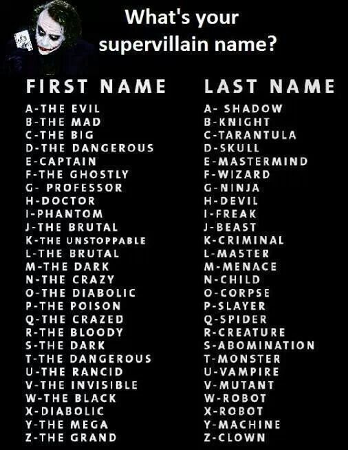 Vilian name generators- the dangerous Knight [The Dark Creature]