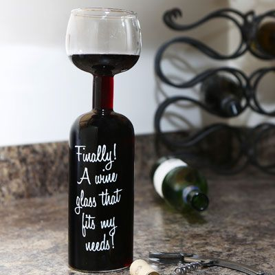"""The Ultimate Mother's Day Gift! - Whimsical Wine Bottle Glass that states, """"Finally! A wine glass that fits my needs!"""" You will be the hit of the family with this unique gift."""