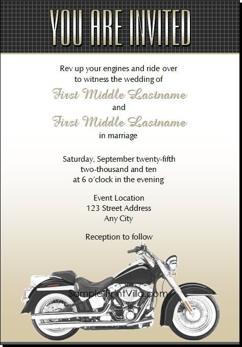 Motorcycle Wedding Invitations From Print Villa...personalized Just For You!
