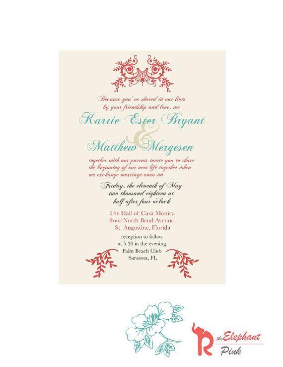 Orange Turquoise Wedding Invitation Printable by theELEPHANTpink, $18.00