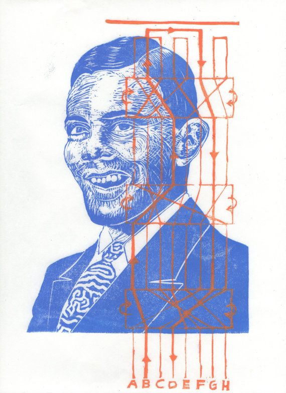 This is a linocut portrait of Alan Turing (1912-1954). It is printed in indigo and orange by hand on lovely Japanese kozo (or mulberry paper), 9.25 by