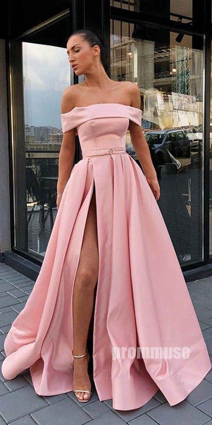Simple Off the Shoulder Pink Side Slit Long Prom Dresses SPE157
