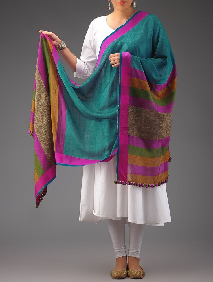 Buy Beige Multicolor Cotton Handwoven Dupatta Accessories Dupattas Color Riot Hand woven Meenakari Sarees and Online at Jaypore.com