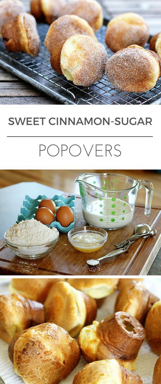 Sweet Cinnamon-Sugar Crusted Popovers Recipe -- with just 5 simple ingredients, these amazing popovers are really VERY simple to make... And you don't even need a popover pan! | via @unsophisticook on unsophisticook.com
