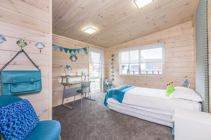 Children's bedroom in this show home in Takanini with turquoise
