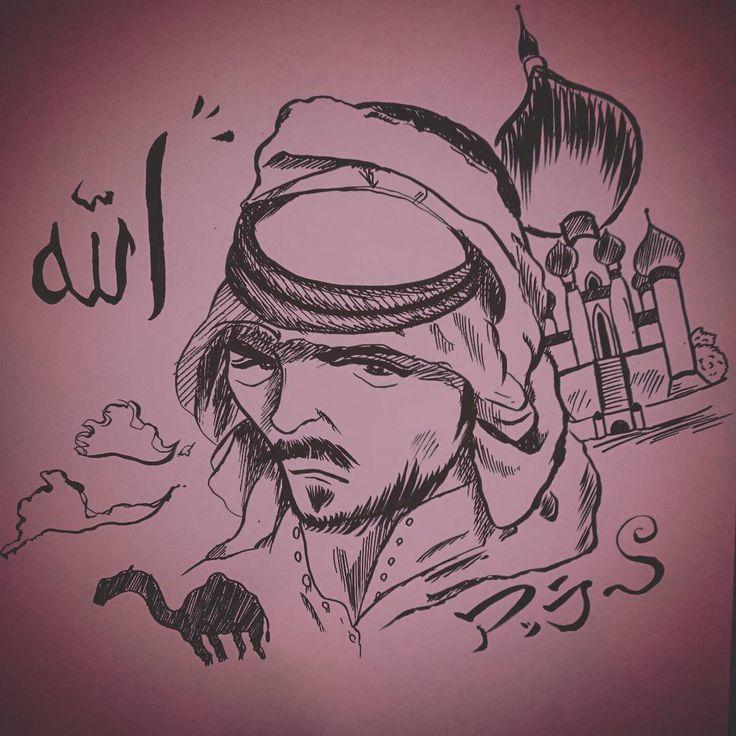 【アッラー】 イスラム教の神。ムハンマドがこれを神として説い | なかがわりょう 世界史 筆ペン イラスト