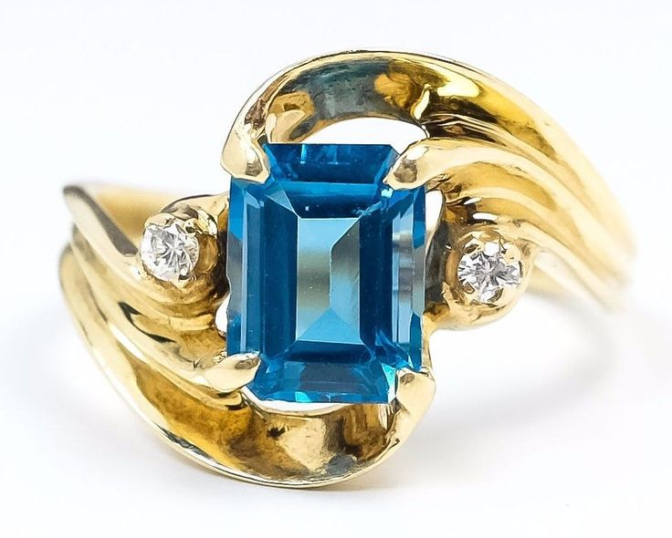 14K Yellow Gold 2.40ct Swiss Blue Topaz & Diamond Accented Gemstone Ring Size 7 #Cocktail