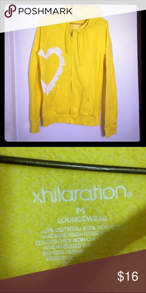 Yellow zip-up hoodie & sweat pants! Great condition size medium sweatshirt. Size small sweatpants. Sweatpants are in decent condition. They come free with hoodie! Xhilaration Tops Sweatshirts & Hoodies
