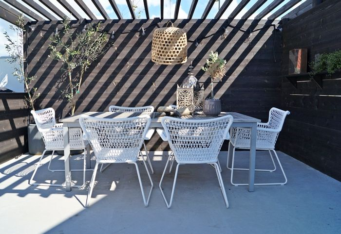 ikea hogsten chairs with timber table
