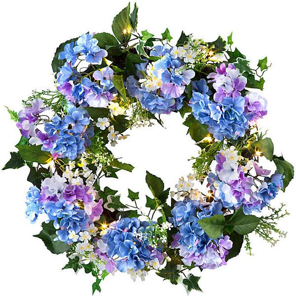 """Improvements Hydrangea Pre-Lit Wreath-20"""" ($60) ❤ liked on Polyvore featuring home, home decor, floral decor, flowers, faux flower hanging basket, indoor decor, hydrangea wreath, hydrangea pre-lit wreath, hanging basket and filler"""