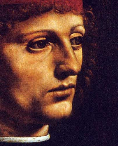 Leonardo Da Vinci Portrait of a Young Man Portrait of the Musician Franchino Gaffurio detail, c. 1490