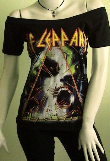 Def Leppard Hysteria Metal Diy Women Top Shirt Size By