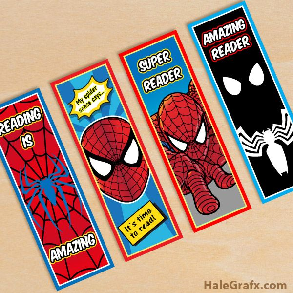 Free Printable Spiderman bookmarks