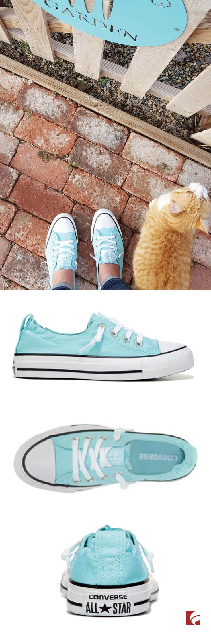 The cat's out of the bag - the Converse Chuck Taylor All Star Shoreline Slip-On Sneaker is the perfect shoe for spring and summer! This casual and cool style features a canvas upper in a slip-on style for effortless and comfortable wear. @vintagemetalco styled these sneaks perfectly with a pair of great jeans and her feline friend by her side!