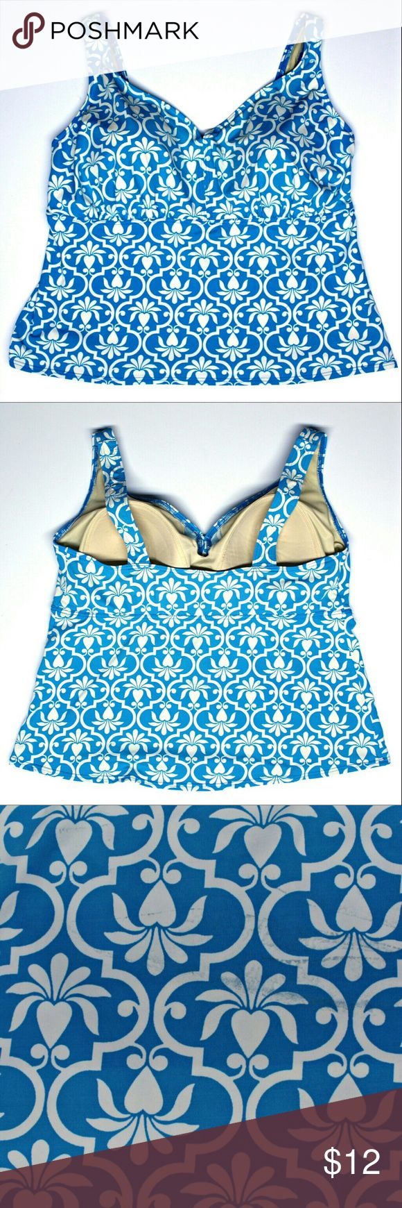 """Lands End Tankini Top Size 20W Bright Blue and White Lands End Tankini Top Size 20W Measurements: Underarm Seam to bottom- 15"""" Bottom horizontal (laying flat)- 25"""" Chest (laying flat)- 20.5"""" Colors are vibrant no pilling  *** Note third image shows light stain on back of top it's not very noticeable otherwise in great shape!*** Lands' End Swim"""