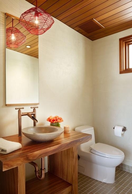 interiors interior design design bathroom restroom toilet sink wood wooden tropical counter