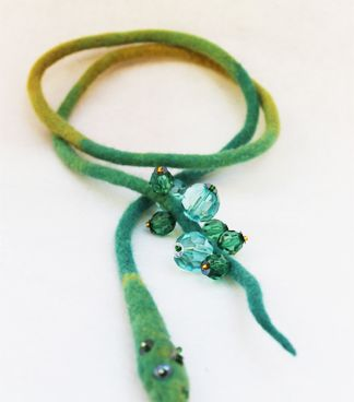 Felted Jewellery with beads made from superfine merino and hand beaded
