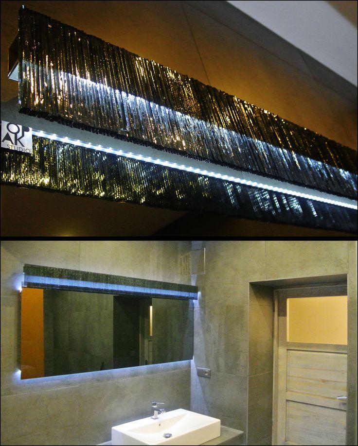 GRAPHITE - LIGHT - AREA Contemporary bathroom lighting project.  Graphite mirror, lacobel, aluminum, LED-lighting.  Private apartment.