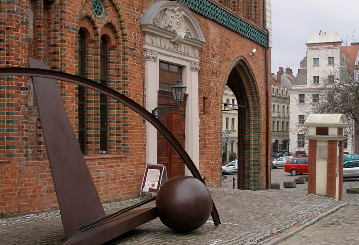 Modern art sculpture outside the Old City Hall in Szczecin (Stettin), Poland.