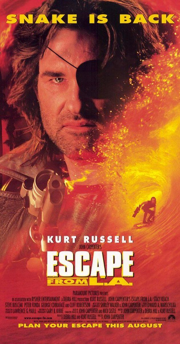 Directed by John Carpenter.  With Kurt Russell, Steve Buscemi, Stacy Keach, Peter Fonda. Snake Plissken is once again called in by the United States government to recover a potential doomsday device from Los Angeles, now an autonomous island where undesirables are deported.