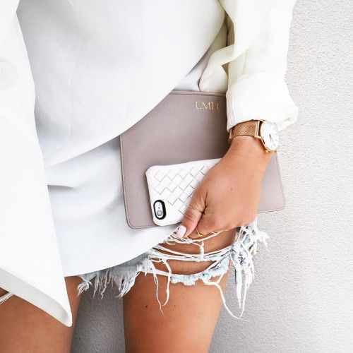 ripped jeans short, hot pants, white blouse, gold watch, taupe clutch, phone cover, street wear, fashion inspo, outfit, ootd, style