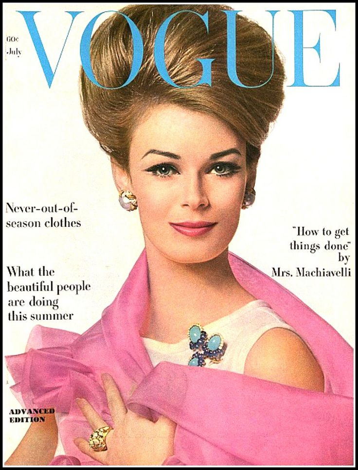 Anne de Zogheb (Mrs. Paul Anka) in jewelry by David Webb, cover photo by Bert Stern, Vogue July, 1962