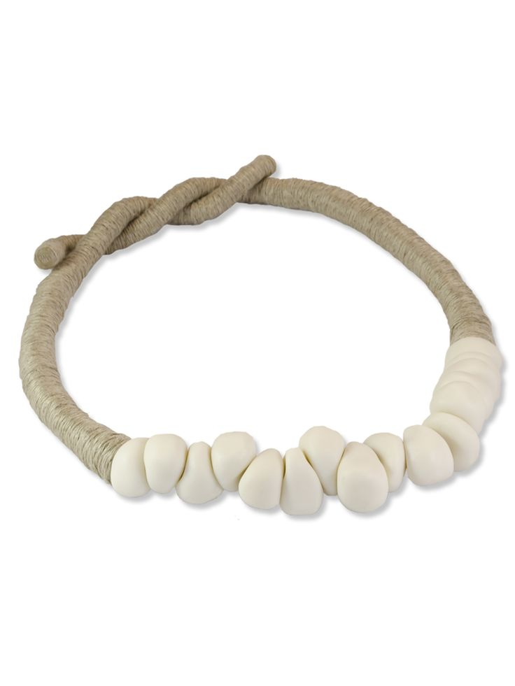 PRIMORDIAL PEBBLES: Necklace  Collection: Primitive  Materials: Porcelain and natural linen cord