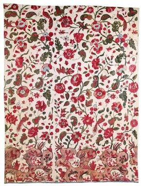 Hanging of painted and dyed cotton made in western India for the British market, late 17th or early 18th century. l Victoria and Albert Museum