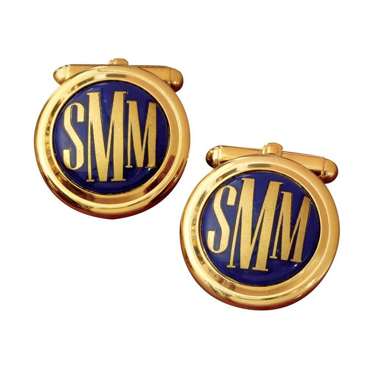 Scully & Scully Monogram Cufflinks Gold letters/Blue