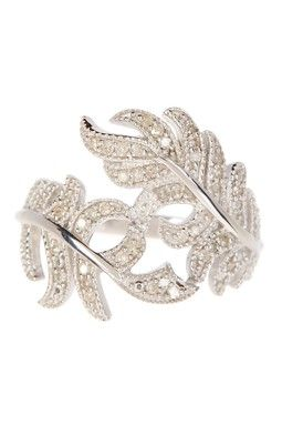 Sterling Silver Pave Diamond Twisted Leaf Ring - 0.20 ctw