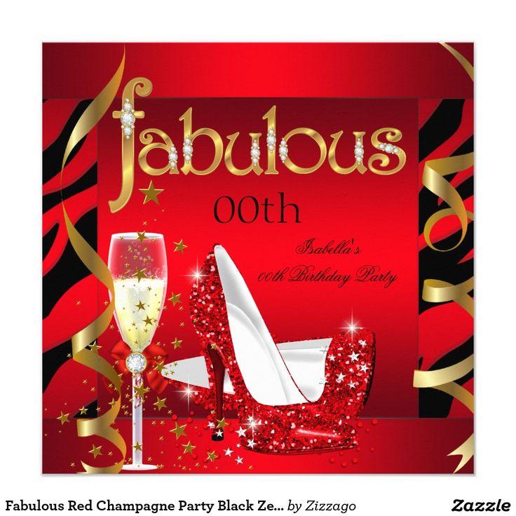 Fabulous Red Champagne Party Black Zebra Invitation