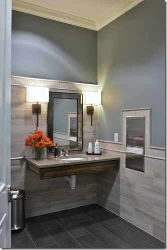beautiful bathroom, looks easy to clean/wipe down.