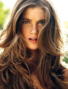 This is really really pretty!!!  medium tone brown hair with dark to light blonde highlights