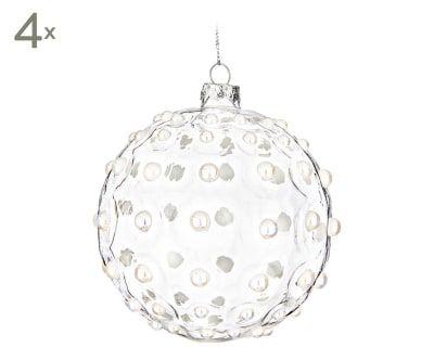 Set de 4 bolas decorativas de cristal Jewel - transparente