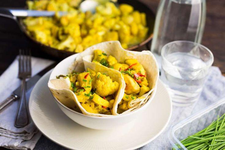 Wraps met kip-kerrie en groente
