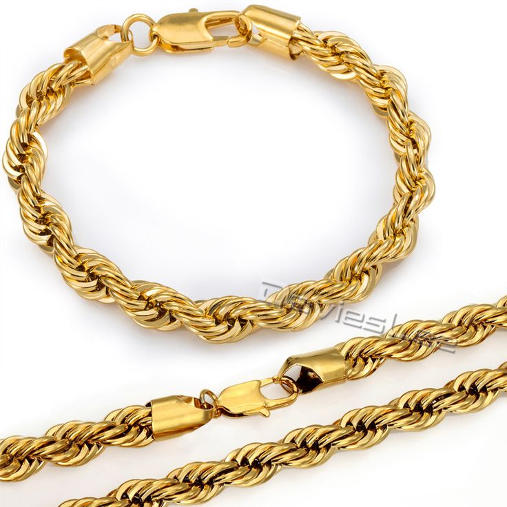 Find More Jewelry Sets Information about 7/8mm ROPE Necklace Bracelet Chain Yellow Gold Filled Necklace Bracelet Jewelry Sets Womens Mens Chain Sets Wholesale GS02,High Quality necklace skeleton,China necklace jewellery Suppliers, Cheap necklace tray from Davieslee Store on Aliexpress.com